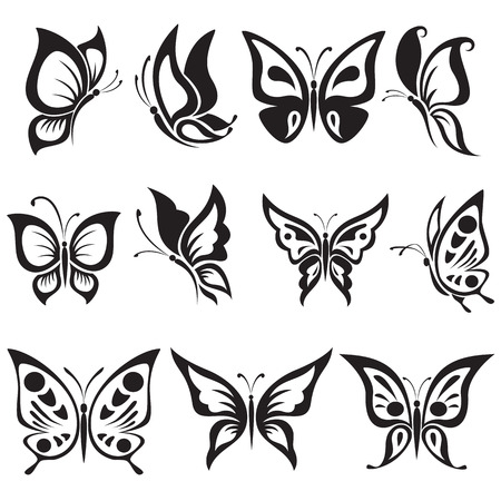 Vector set black and white butterflies Vectores