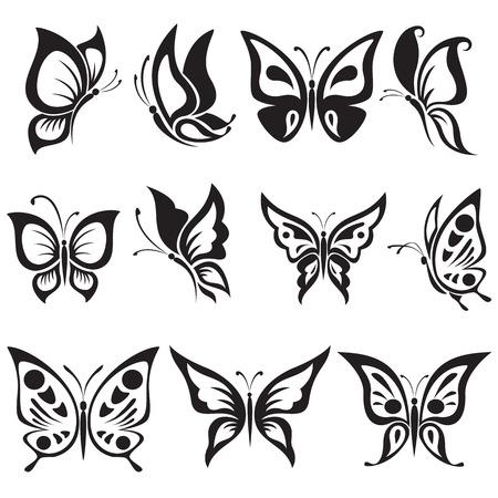 farfalla tatuaggio: Insieme di vettore farfalle in bianco e nero Vettoriali