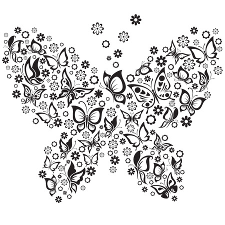 Vector Illustration of  black and white butterflies Vector