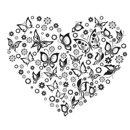 Vector illustrations black and white butterfly and flowers in heart shape.
