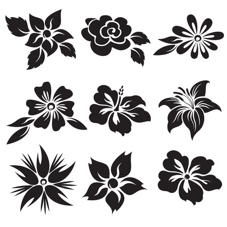 155787 black and white flower cliparts stock vector and royalty vector set of black and white flowers mightylinksfo