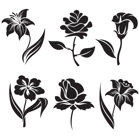 rose silhouette: Vector set of black and white flowers.
