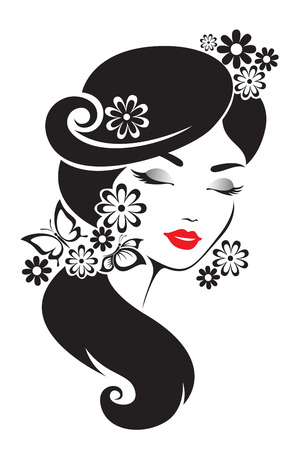 black woman: Black and white illustration of elegant Japanese woman.
