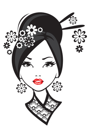 geisha kimono: Black and white illustration of elegant Japanese woman.