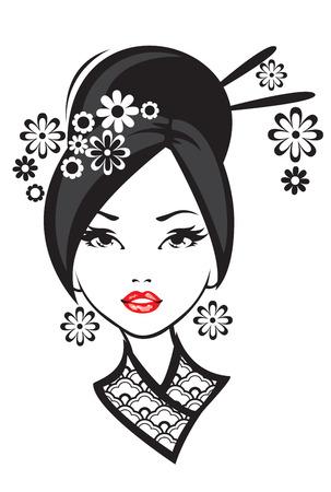 Black and white illustration of elegant Japanese woman.
