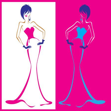 stylish woman: Silhouettes of fashion girls