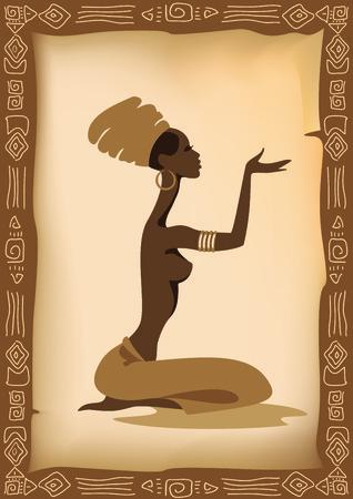 Vector illustratie van de Afrikaanse vrouw. Stock Illustratie
