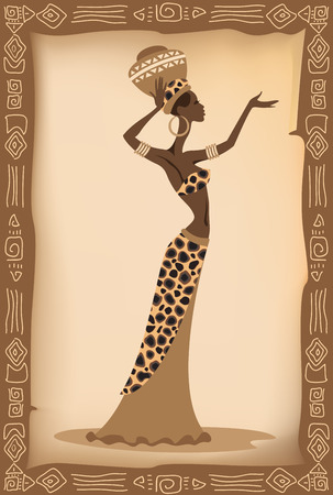 Vector illustration of the african woman.
