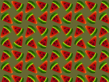 Seamless pattern from slices of watermelon on a dark green background. Print for fabric.