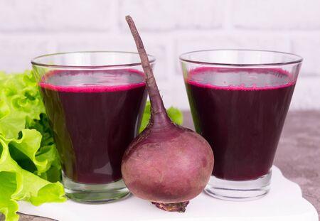 Two glasses of fresh Beet vegetable juice. Detox. Close-up.