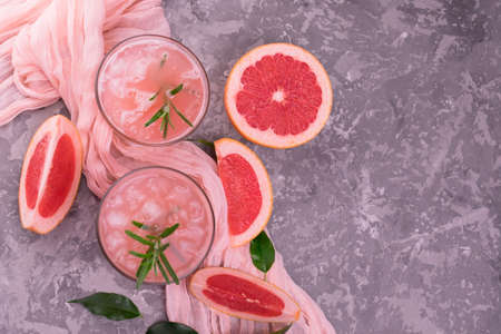 Cocktail Grapefruit Rosemary Gray Background Flat Lay Copy Space