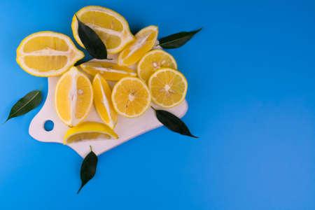 Lemons White Board Light Blue Background Top View Copy Space Stock fotó