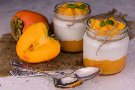 Yogurt Persimmon White Background Field Desserts Concept