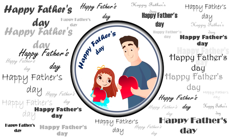 Postcards father's day. Happy family. Father and child. Love of the father.