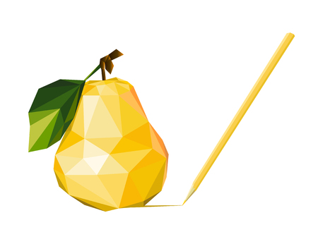 Yellow pear. Natural fruit. Diet. Healthy eating.Drawing in pencil.Pear low poly. Illustration
