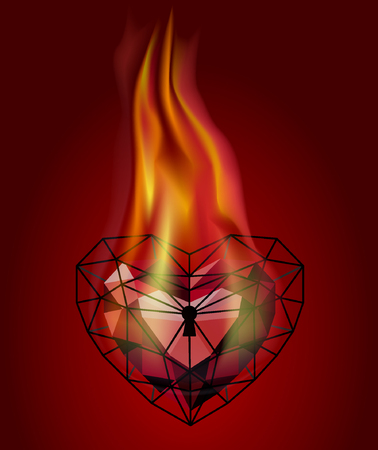 Heart in the fire. Red heart. Heart in the style of low poly Illustration