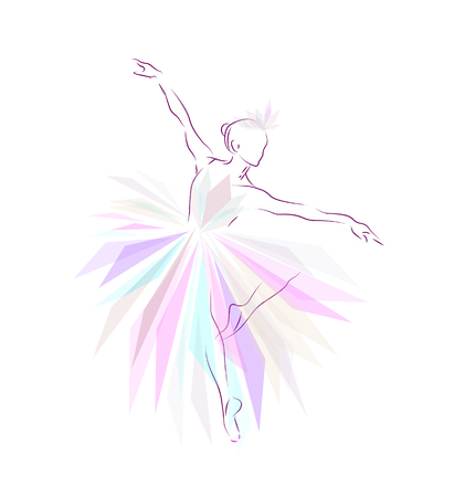 A ballerina is dancing on a white background.