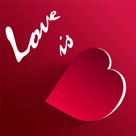 Heart red on white background. The heart is drawn in the style of low poly. Geometric red heart. Heart precious stone.