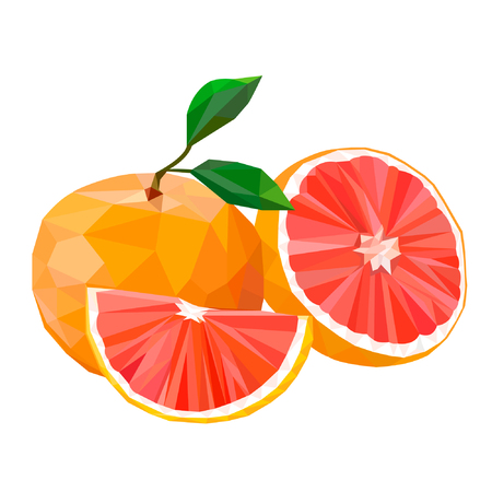 Red orange. Blood red oranges isolated on white background. Polygonal fruit. Low Poly style. Red orange in low poly style.