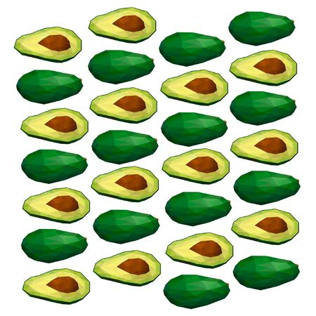 Avocado. Polygonal fruit. Polygonal fruit - avocado. Low poly style. Avocado isolated. Illustration