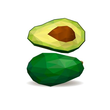 Avocado. Polygonal fruit. Polygonal fruit - avocado. Low poly style. Avocado isolated. Archivio Fotografico - 126179086