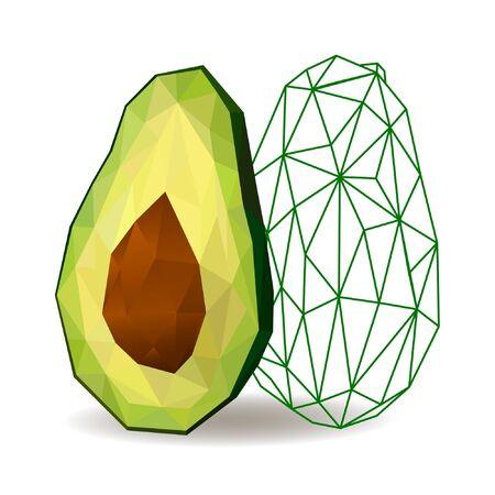 Avocado. Avocado isolated. Polygonal fruit. Polygonal fruit - avocado. Low poly style.