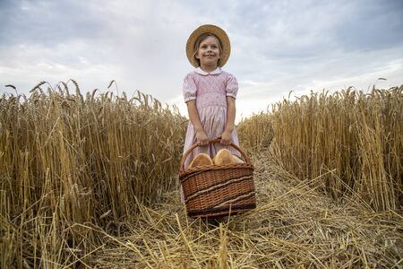Basket with bread on the background of wheat ears. Basket with bread. Bakery products in a basket on a wheat field.