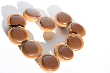isolated photo of heart made of chocolates Imagens