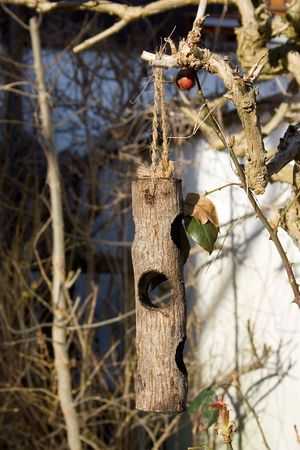 photo of a wooden bird table hanging on the tree