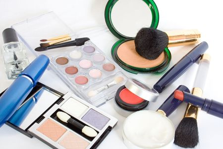 cosmetics isolated on white. lots Stock Photo