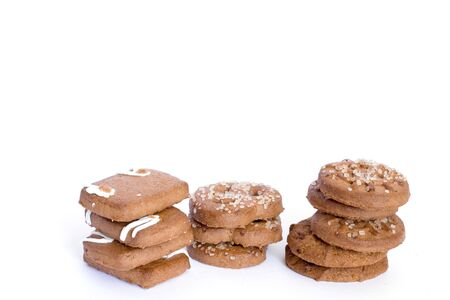 brown cookies isolated on white
