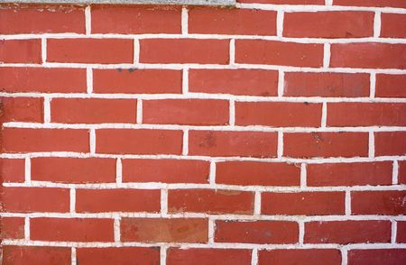 brick wall. red with white joint