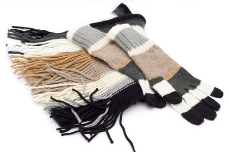 striped gloves and scarf isolated on white Stock Photo