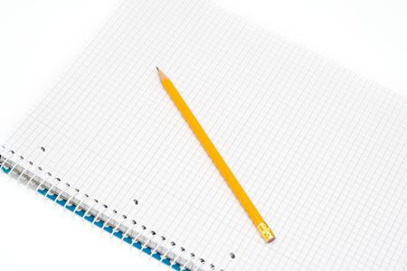 notepad and yellow pencil isolated on white Stock Photo - 2038837