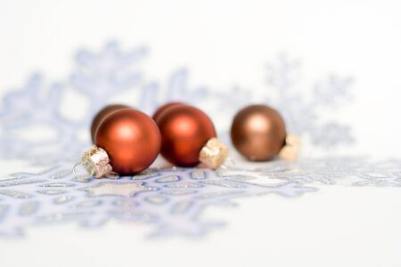christmas decorations isolated on white. glass balls. Stock Photo