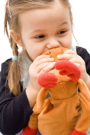 little girl with her toy. best friends. Stock Photo