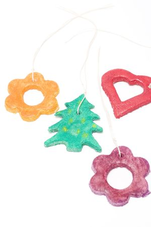 colorful christmas decorations isolated on white. hand made. photo