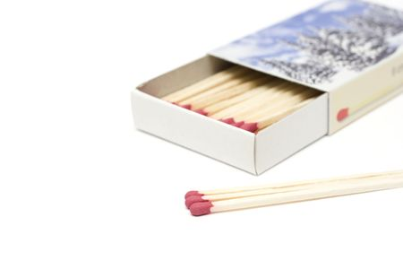 open cardboard box with matches isolated on white photo