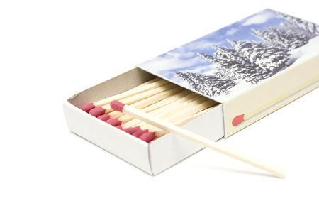 inflammable: open cardboard box with matches isolated on white Stock Photo