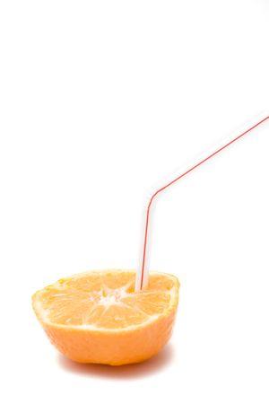 fresh juice isolated on white. half of an orange. photo