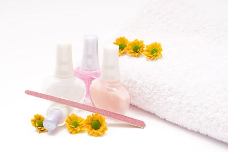 french manicure set with flowers isolated on white Stock Photo