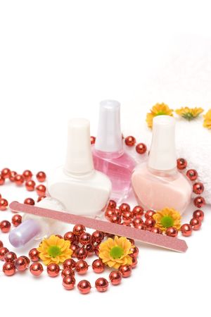 french manicure set with flowers isolated on white photo