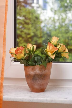 bunch of orange roses on the windowsill Stock Photo
