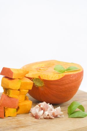 an orange pumpkin isolated on white. soup ingredient. photo