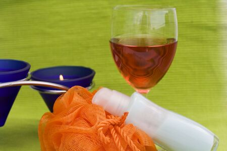 washcloth: washcloth, cosmetics, candles and rose wine - relaxation