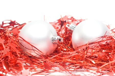 silver balls: christmas decoration - silver balls isolated on white