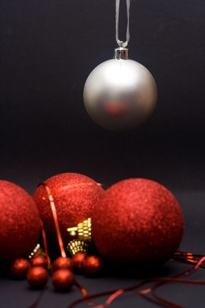 christmas decoration - ball against the black background Stock Photo
