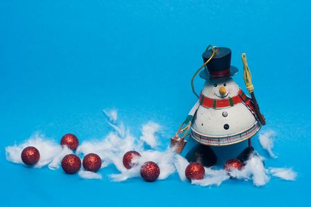 christmas decoration - snowman against the blue background Stock Photo - 3754592