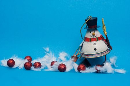 christmas decoration - snowman against the blue background Stock Photo - 3784653