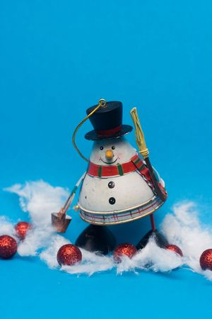 christmas decoration - snowman against the blue background Stock Photo - 3780443